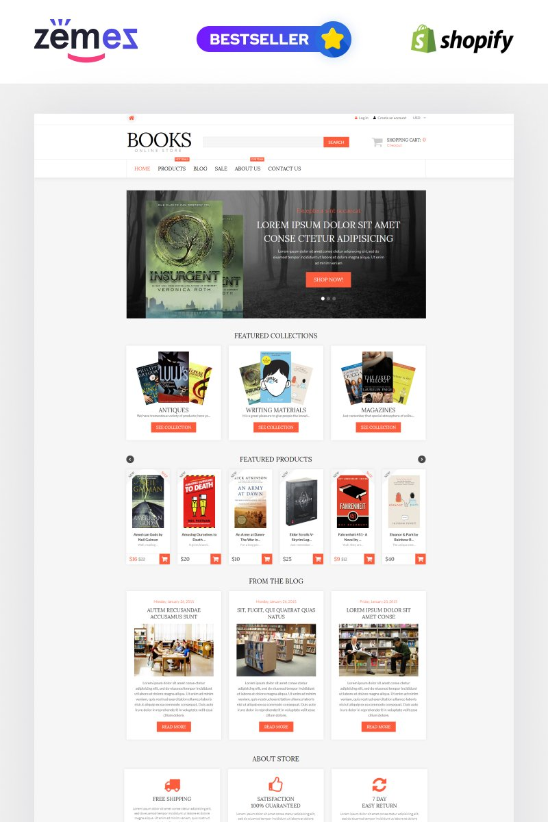 """Template Shopify Responsive #52933 """"Literature Lovers Spot"""""""