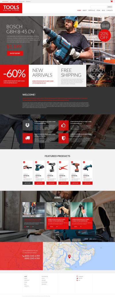 Thème WooCommerce adaptatif  pour site d'outils et d'équipement #52954