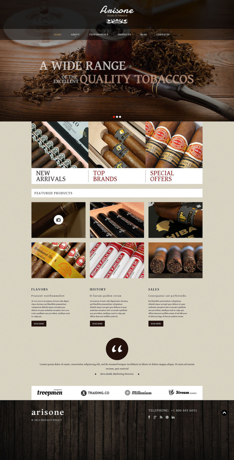 Tobacco and Cigars WordPress Theme New Screenshots BIG