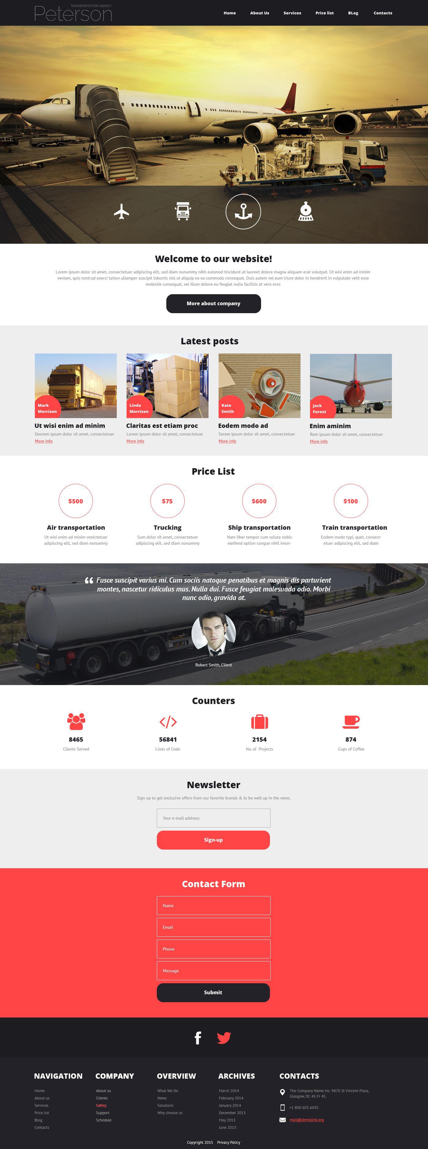 Transportation Responsive Joomla Template - screenshot
