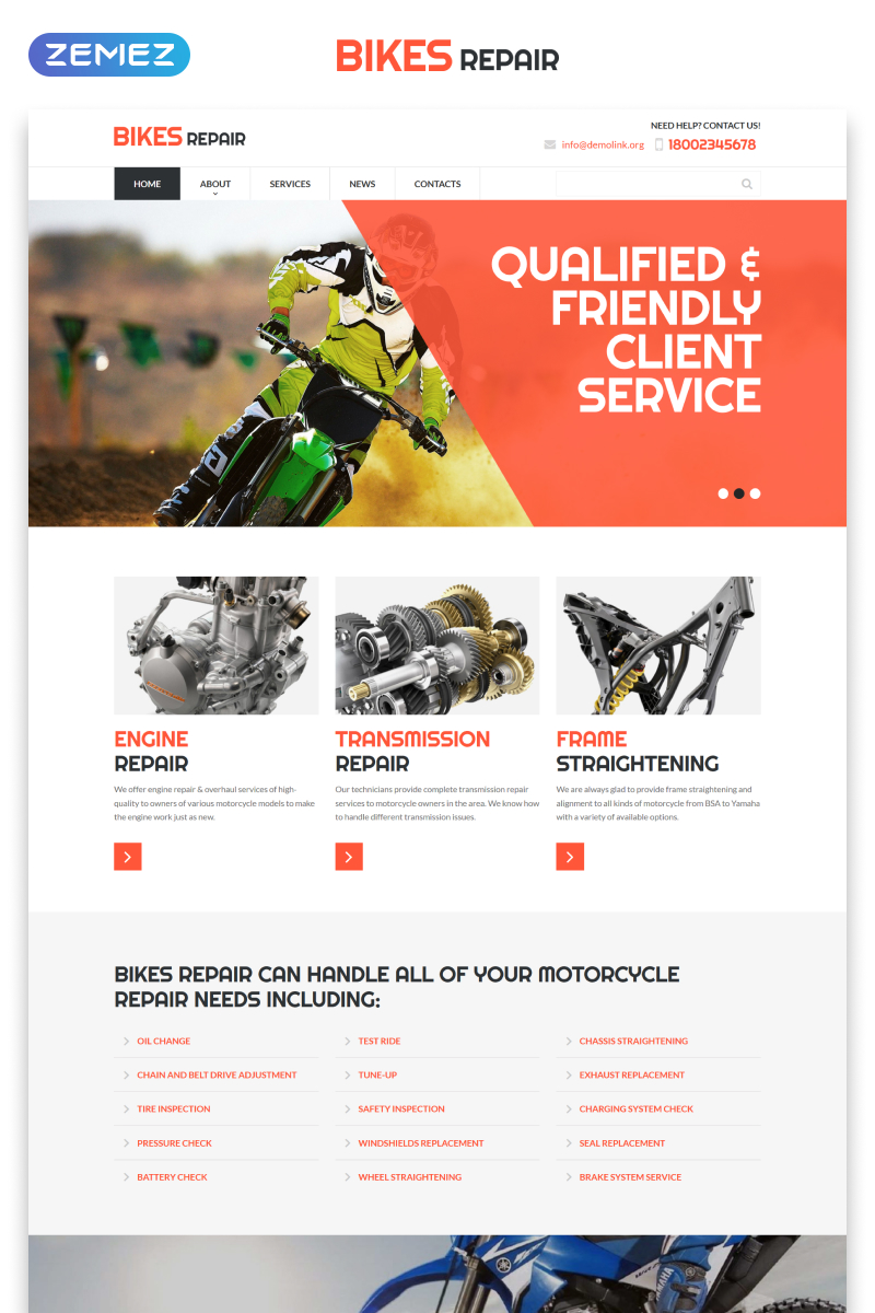 "Website Vorlage namens ""Bikes Repair - Motorcycles Repair & Service Responsive Clean HTML"" #52978"