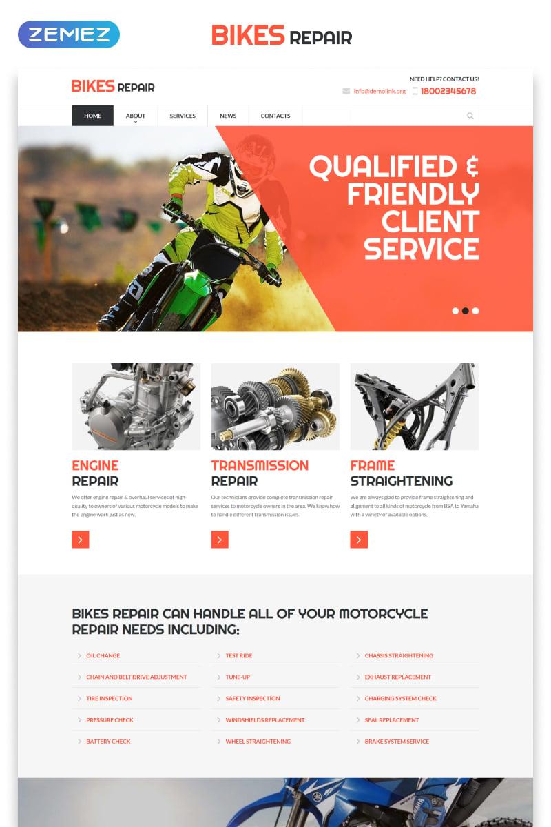 """Website Vorlage namens """"Bikes Repair - Motorcycles Repair & Service Responsive Clean HTML"""" #52978"""