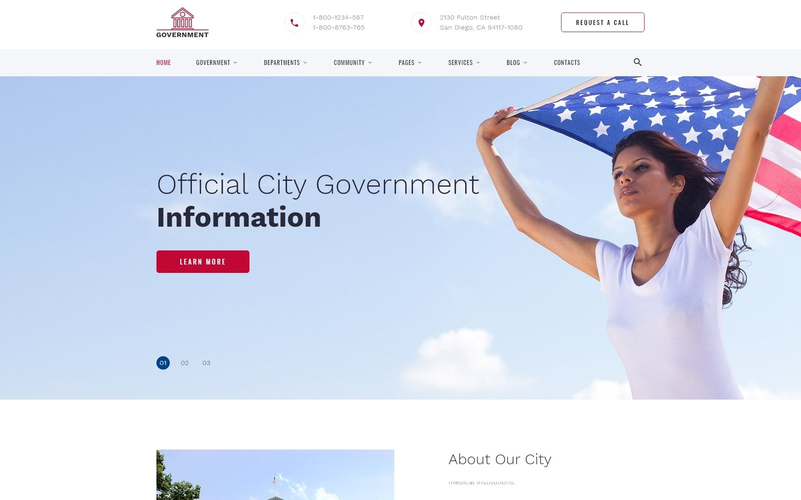 "Website Vorlage namens ""Government - Official City Government Multipage HTML"" #52938"