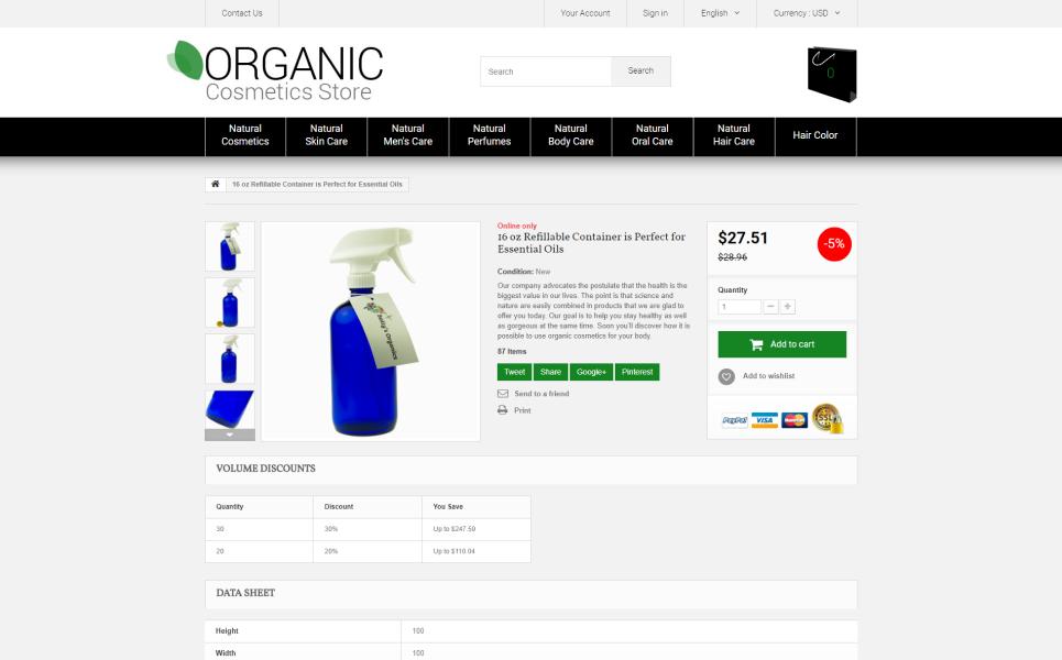 Organic Cosmetics - Make Up Store Template PrestaShop Theme