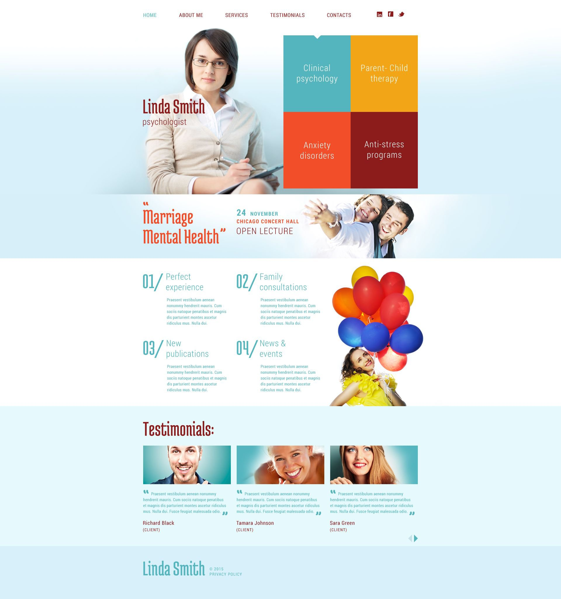 The Linda Smith Psychologist Responsive Javascript Animated Design 53011, one of the best website templates of its kind (medical, most popular), also known as Linda Smith psychologist website template, psychological website template, family website template, psycology website template, private mental website template, stress website template, anxiety website template, disorder website template, mood website template, trauma website template, abuse website template, health website template, private illness website template, specialist website template, confidentiality and related with Linda Smith psychologist, psychological, family, psycology, private mental, stress, anxiety, disorder, mood, trauma, abuse, health, private illness, specialist, confidentiality, etc.