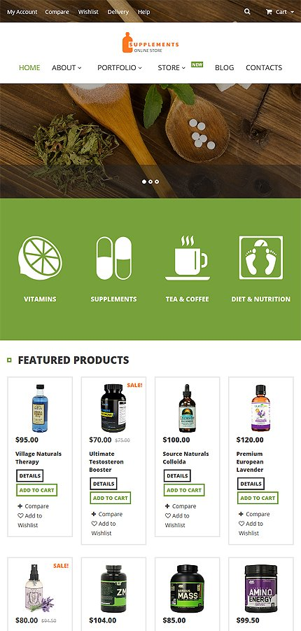 nutrition supplements woocommerce theme website templates. Black Bedroom Furniture Sets. Home Design Ideas