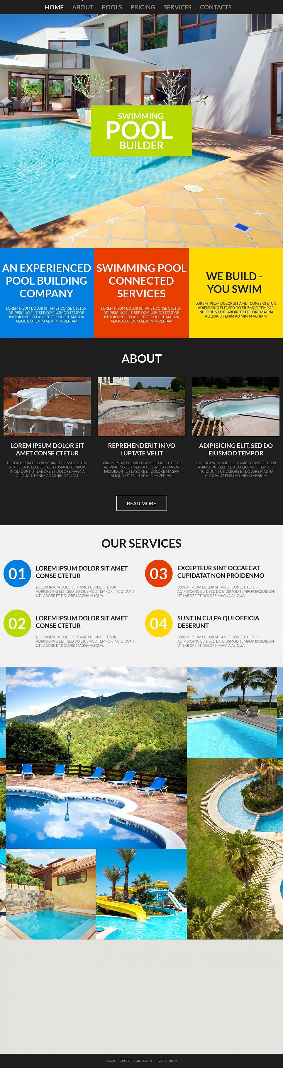 Swimming Pools Website Template - image