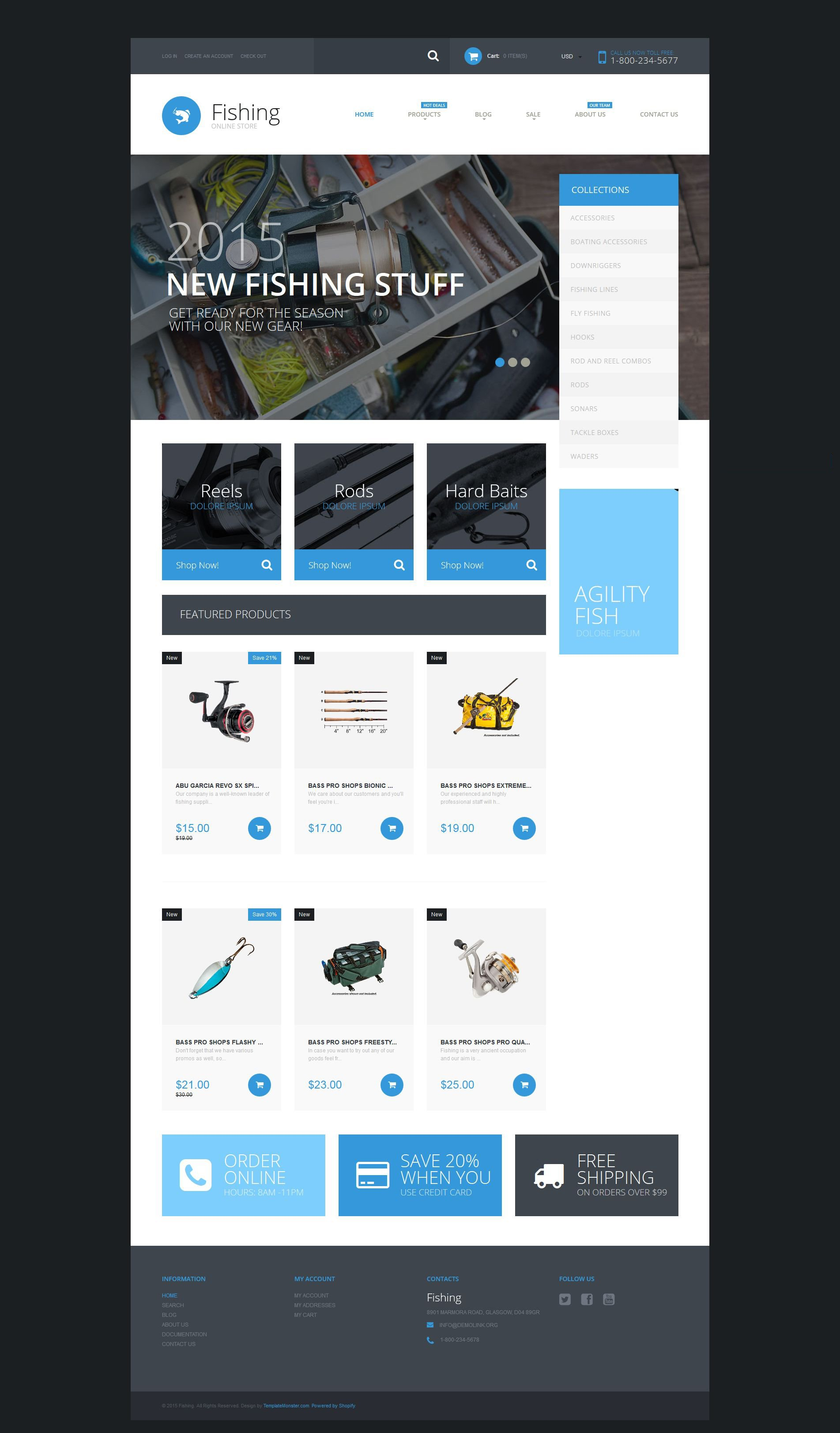 The Fishing Store Shopify Design 53080, one of the best Shopify themes of its kind (sport, most popular), also known as fishing store Shopify template, site Shopify template, fisherman Shopify template, boat Shopify template, rods Shopify template, reels Shopify template, baits Shopify template, swimbaits Shopify template, jigs Shopify template, rogs Shopify template, tools Shopify template, spinning Shopify template, fishing Shopify template, line and related with fishing store, site, fisherman, boat, rods, reels, baits, swimbaits, jigs, rogs, tools, spinning, fishing, line, etc.