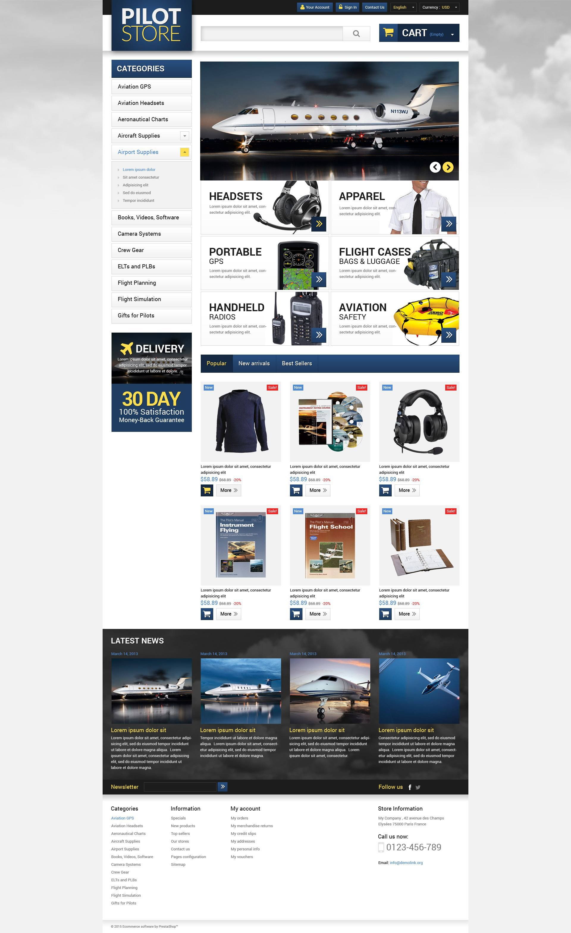 The Pilot Store PrestaShop Design 53097, one of the best PrestaShop themes of its kind (transportation, most popular), also known as pilot store PrestaShop template, shop PrestaShop template, supplies PrestaShop template, aviation PrestaShop template, aircraft PrestaShop template, accessories PrestaShop template, flight PrestaShop template, training PrestaShop template, crewgear PrestaShop template, headsets PrestaShop template, bags PrestaShop template, guides PrestaShop template, books and related with pilot store, shop, supplies, aviation, aircraft, accessories, flight, training, crewgear, headsets, bags, guides, books, etc.