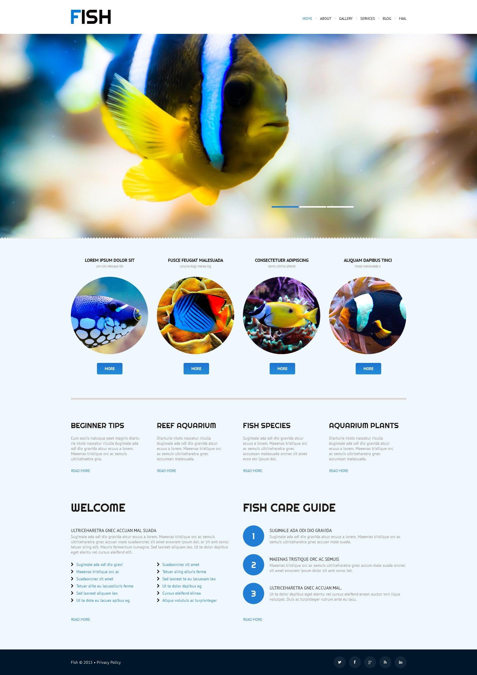 Адаптивний WordPress шаблон на тему риба №53000
