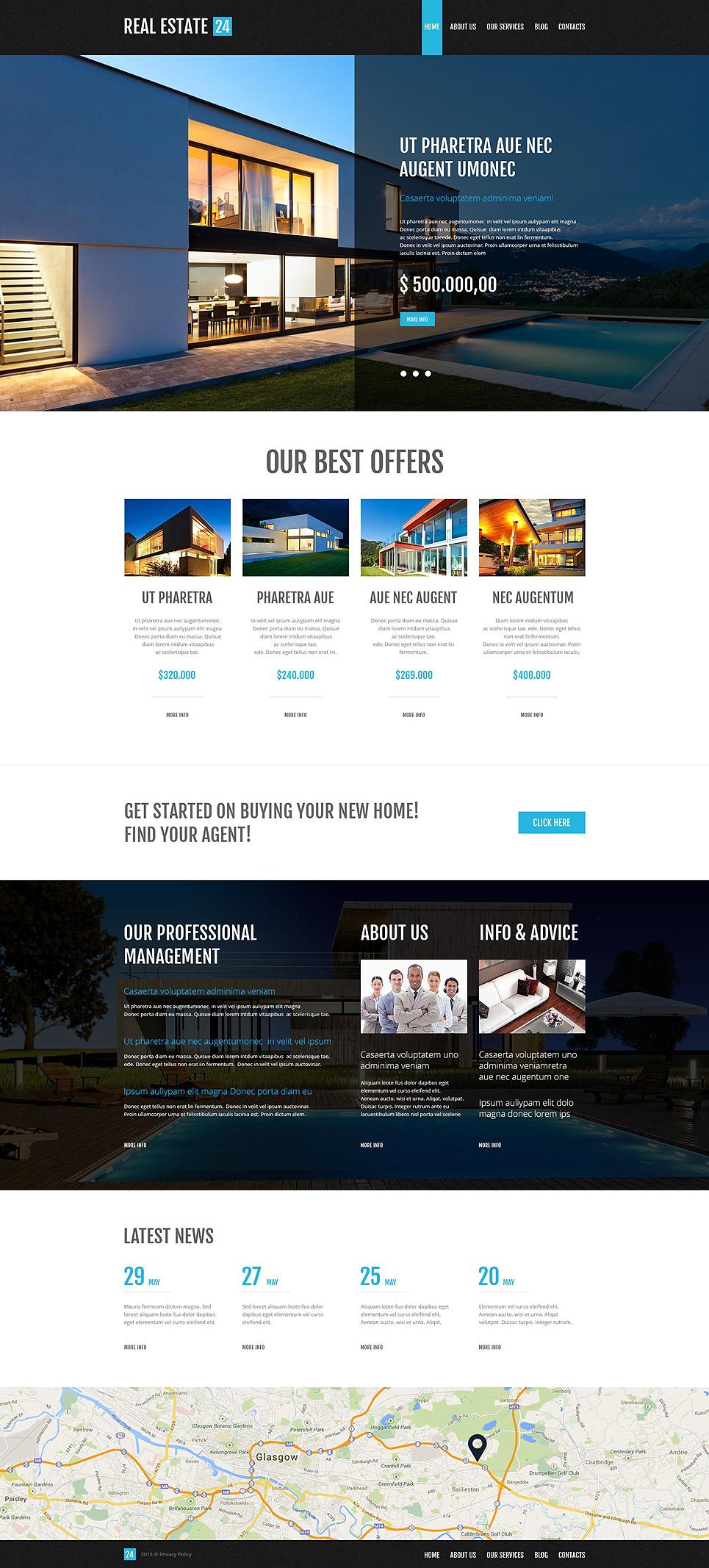 Адаптивный шаблон сайта на тему агентство недвижимости #53001