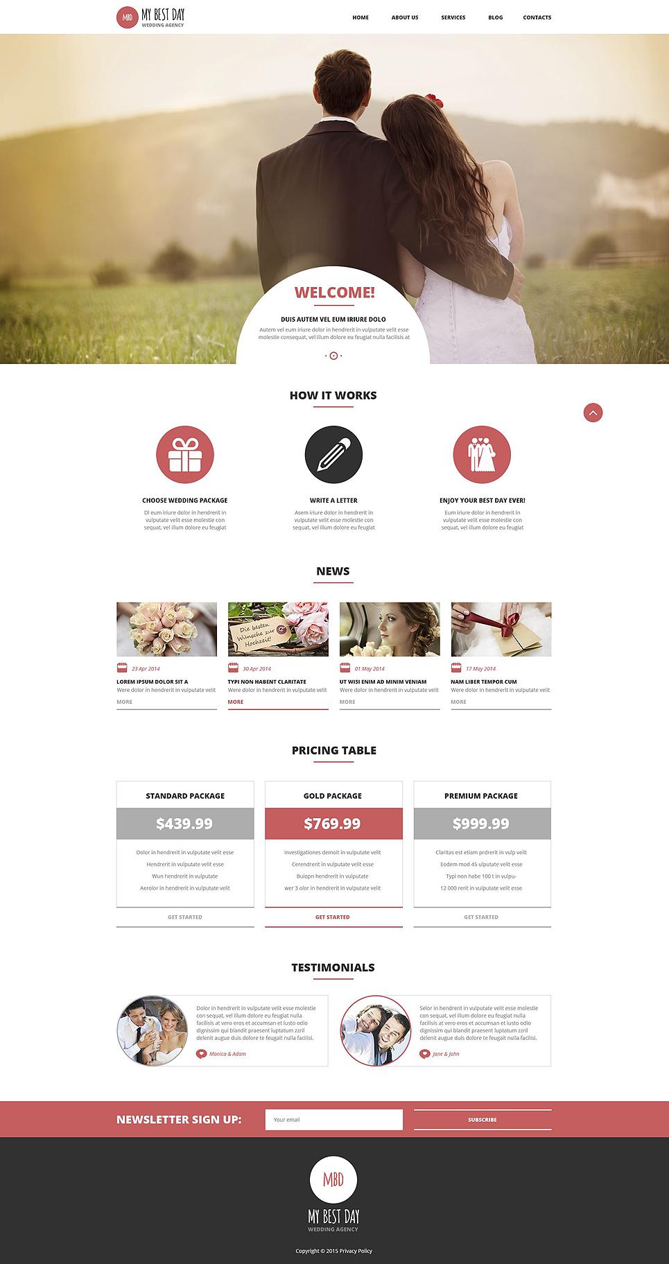 Адаптивный шаблон сайта на тему организация свадьбы #53015
