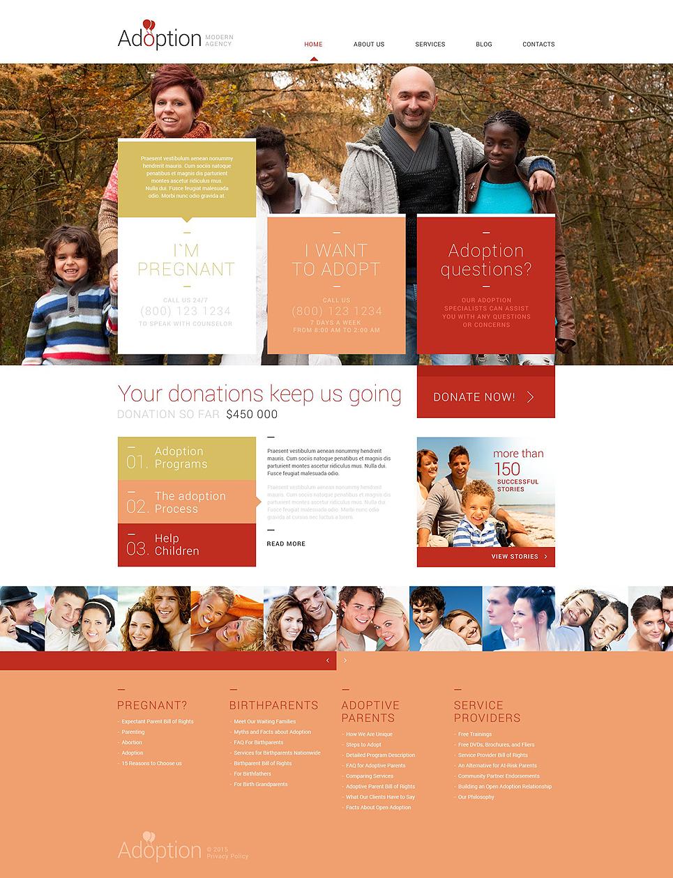 Адаптивный шаблон сайта на тему агентство по усыновлению #53018