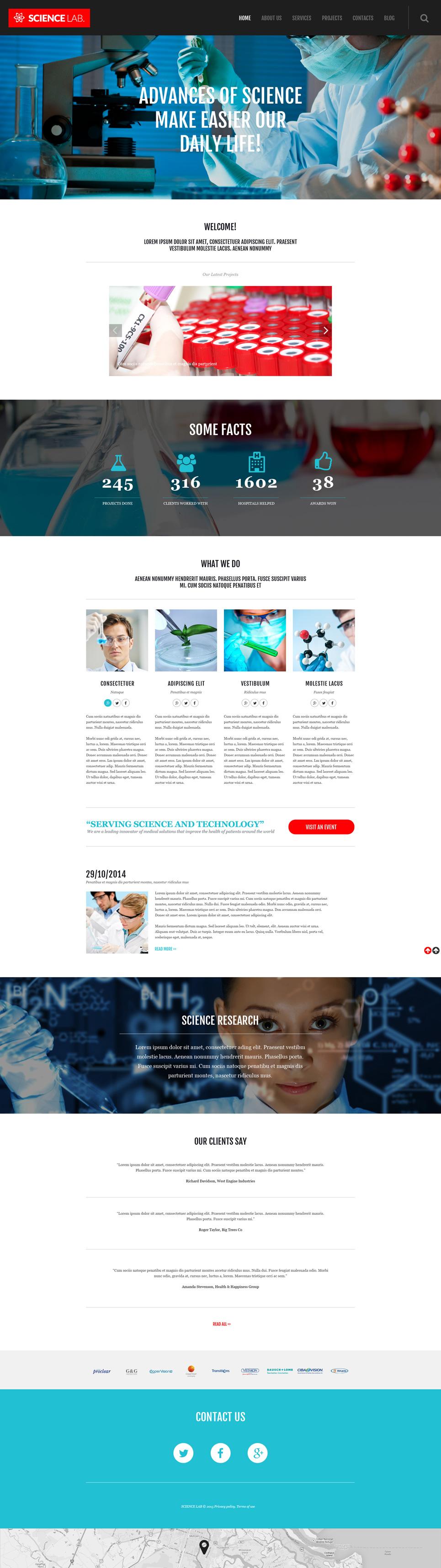 Адаптивный шаблон сайта на тему научная лаборатория #53090