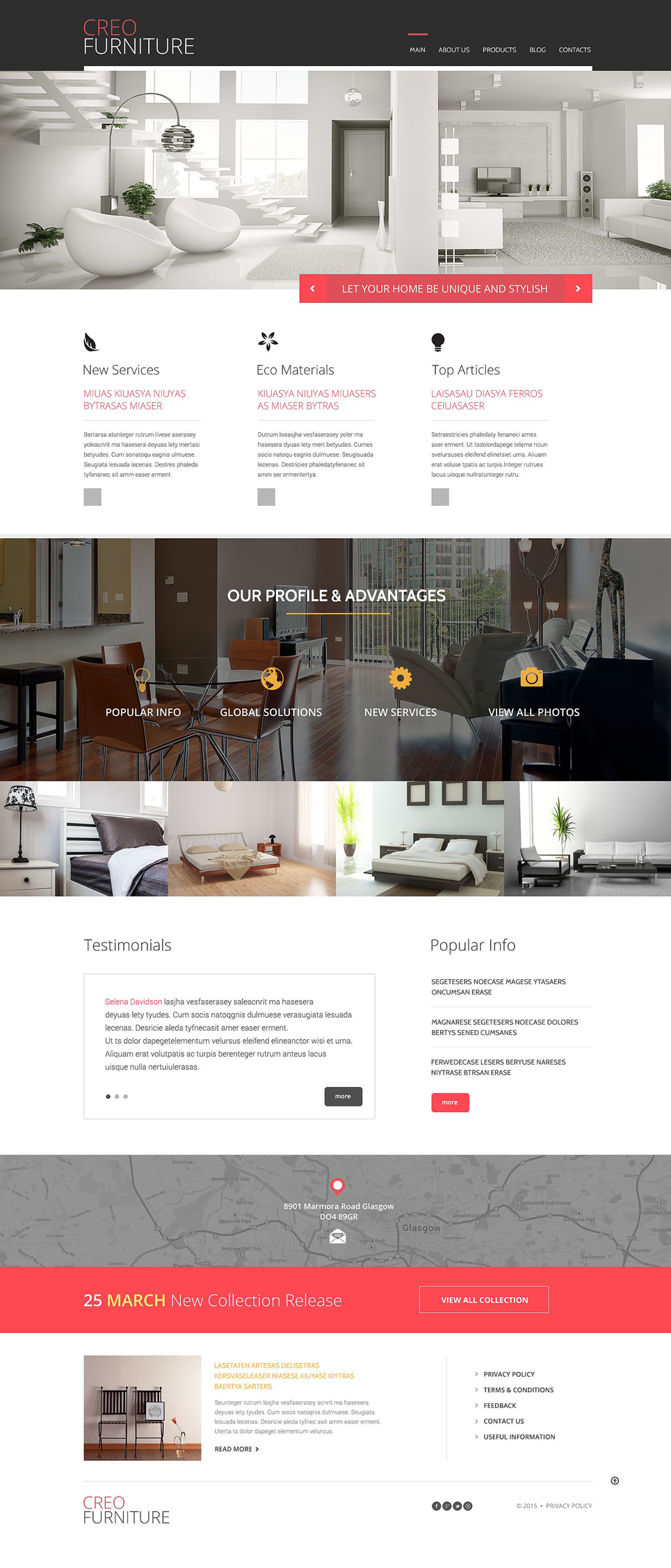 Адаптивный шаблон сайта на тему мебель #53093