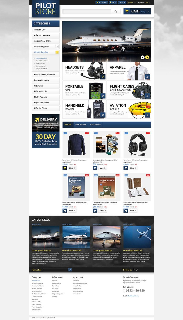 Aviation Equipment PrestaShop Theme New Screenshots BIG