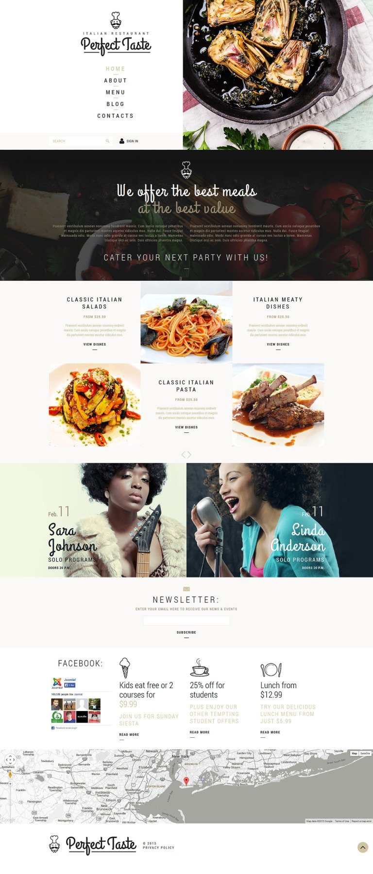 Cafe And Restaurant Joomla Template New Screenshots BIG