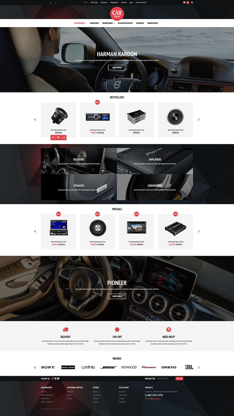 Car Audio Video Equipment OpenCart Template New Screenshots BIG