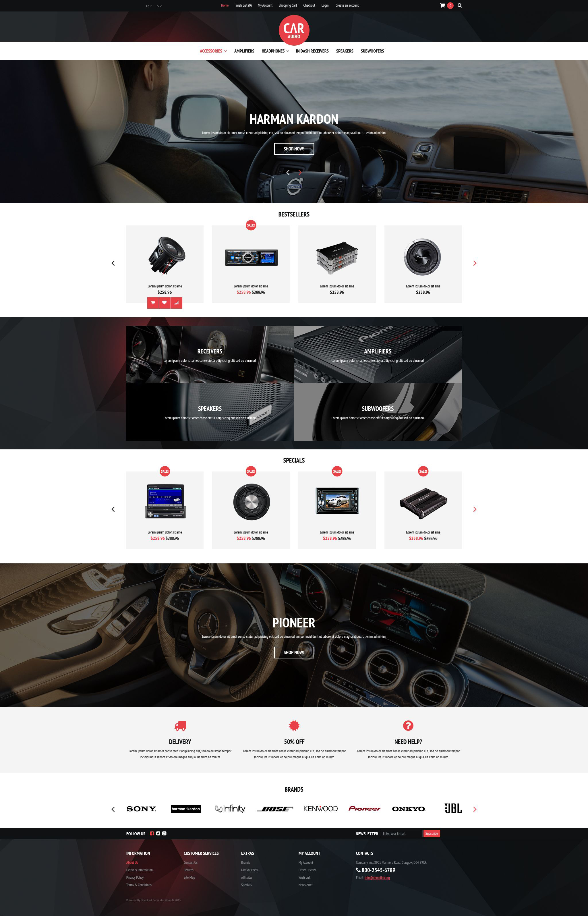 Car Audio  Video Equipment OpenCart Template