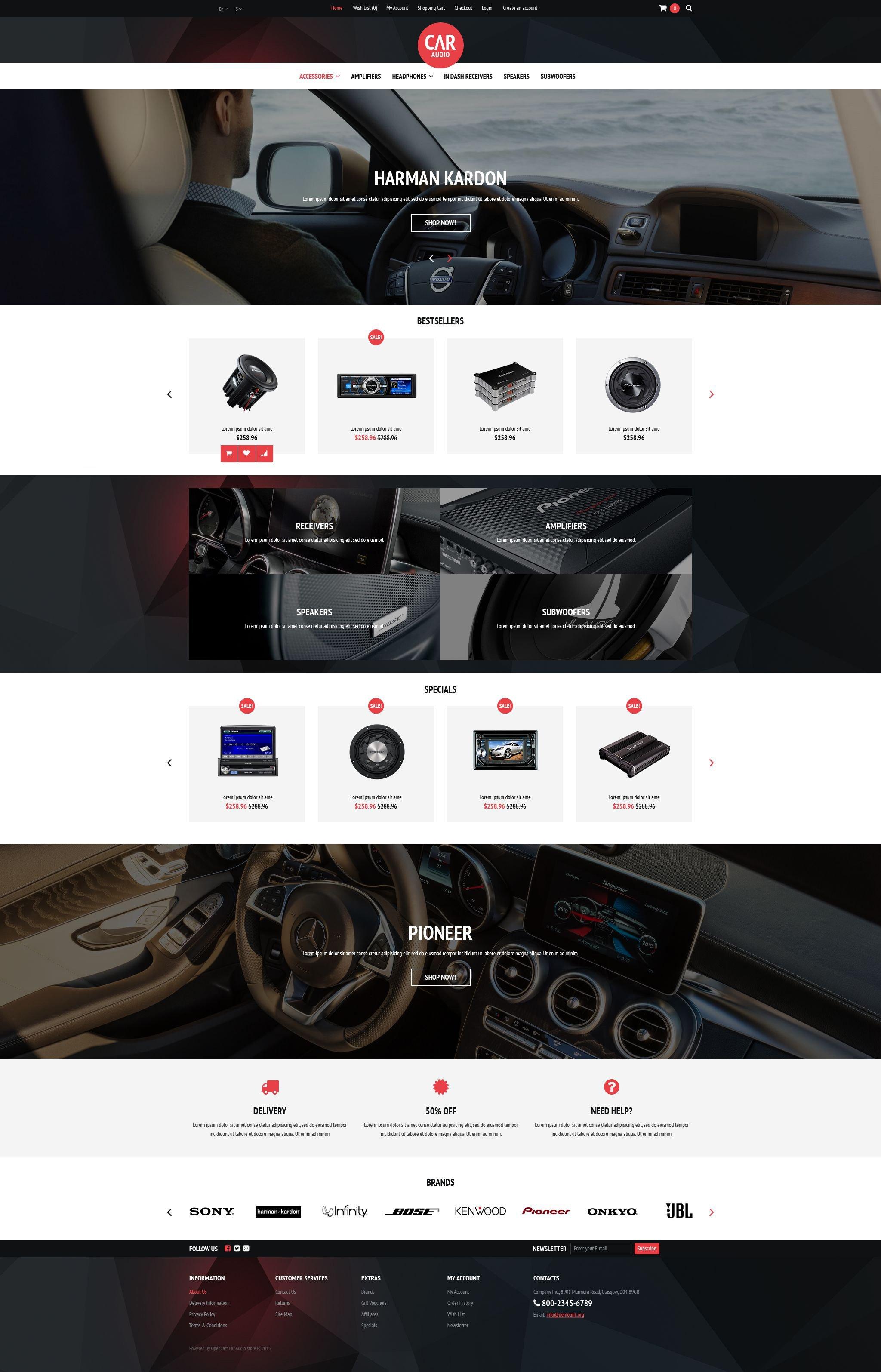 """""""Equipement audio et vidéo voiture"""" thème OpenCart adaptatif #53031"""
