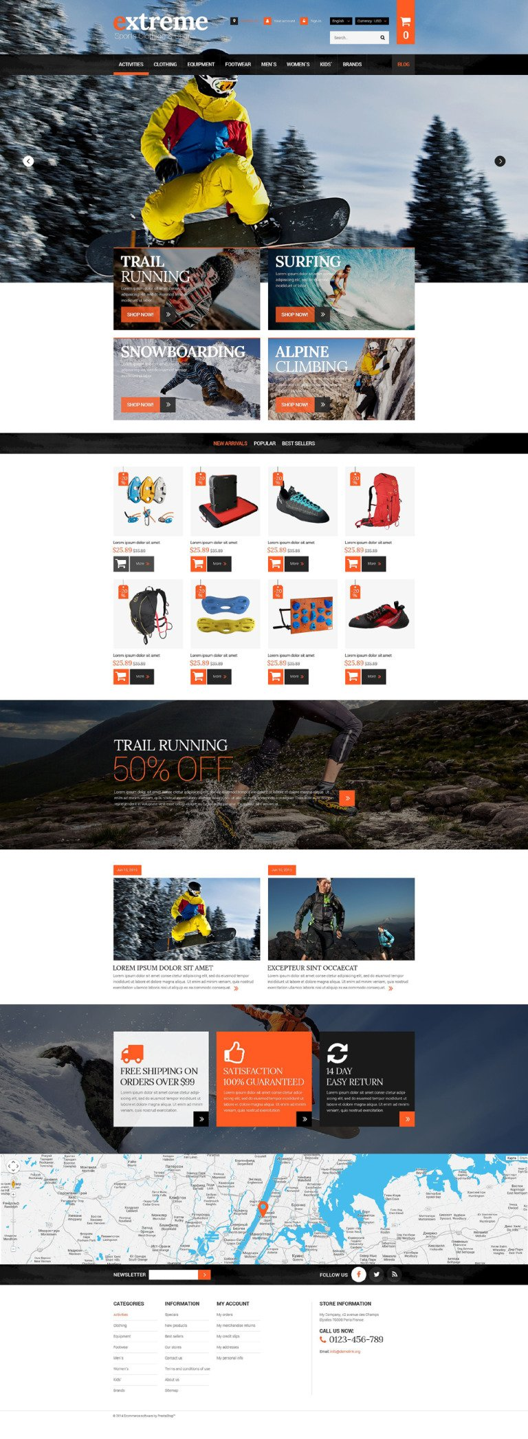 Extreme Clothes & Gear PrestaShop Theme New Screenshots BIG