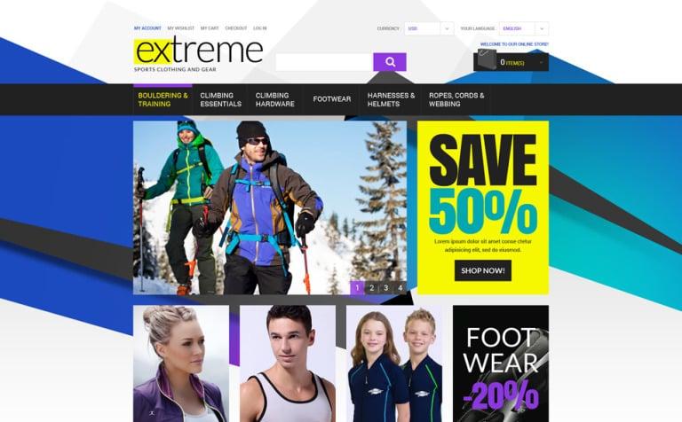 Extreme Sportswear Gear Magento Theme