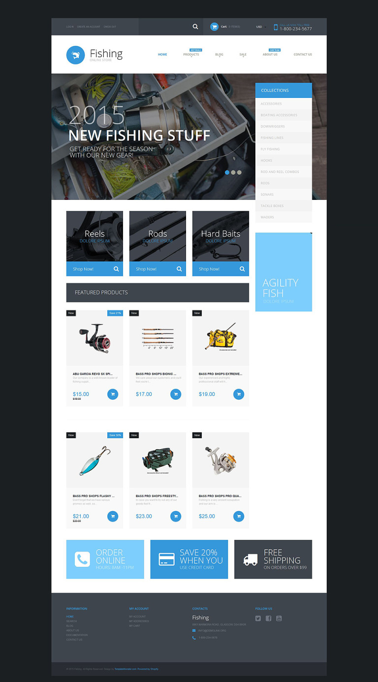 Fishing Supplies Shopify Theme New Screenshots BIG