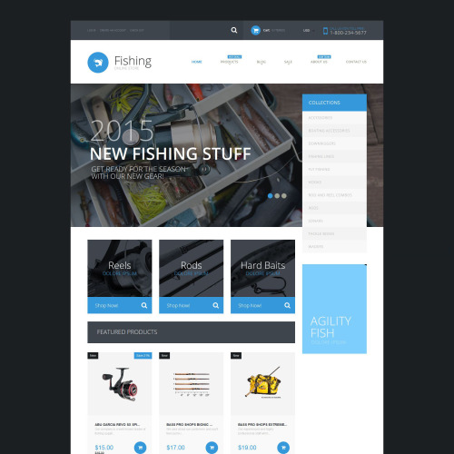 Fishing Store - Shopify Template based on Bootstrap