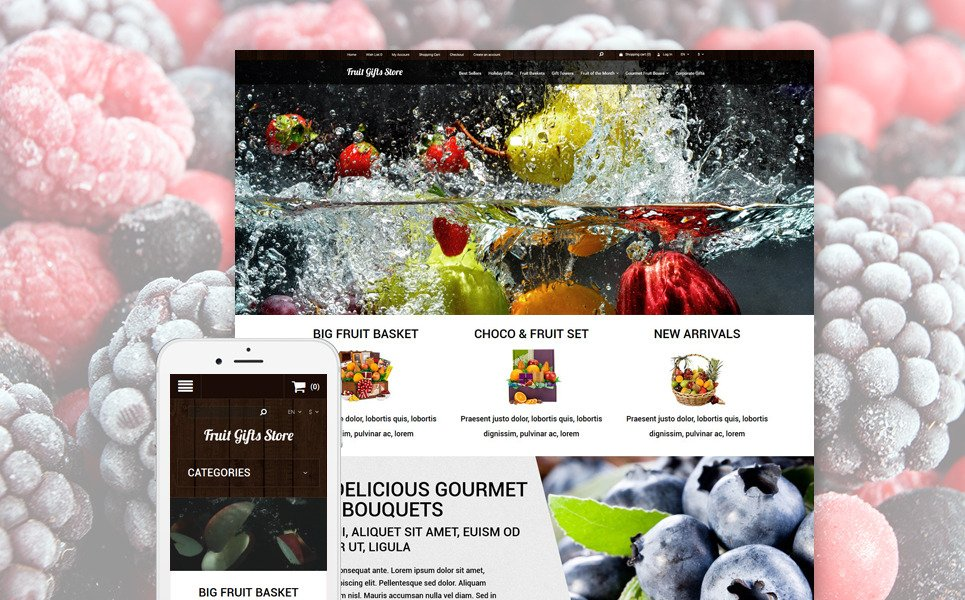 Fruit Gifts Store OpenCart Template New Screenshots BIG