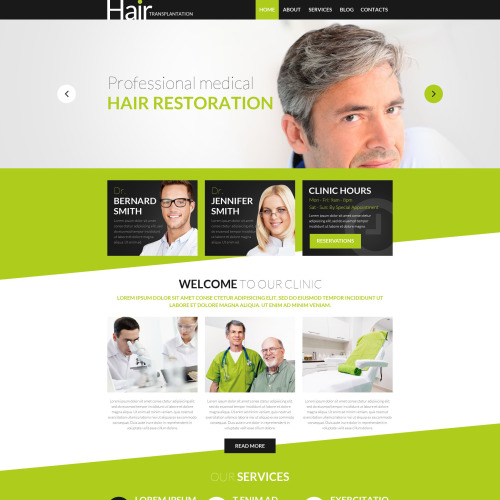Hair Transplantation - WordPress Template based on Bootstrap