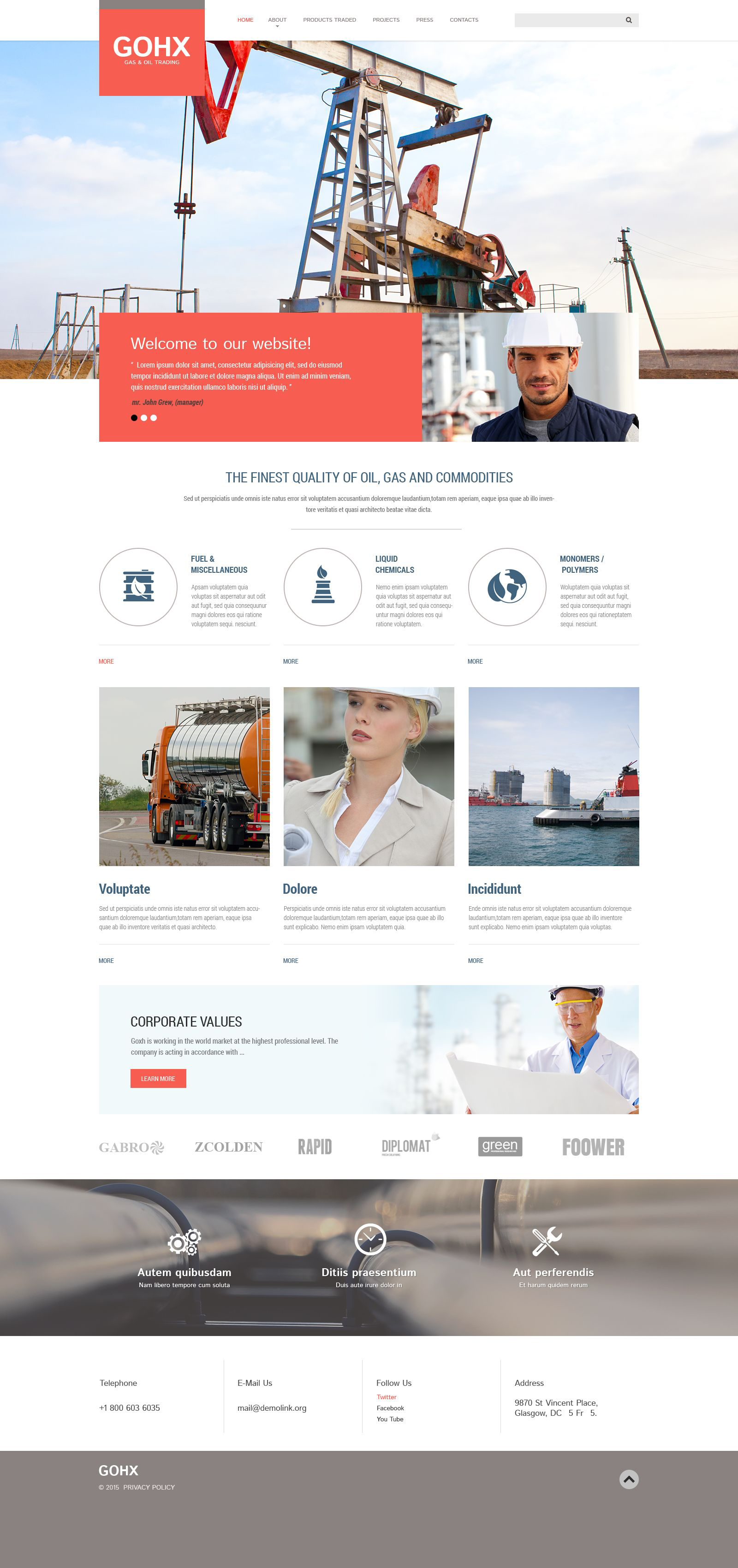 oil and gas company web template