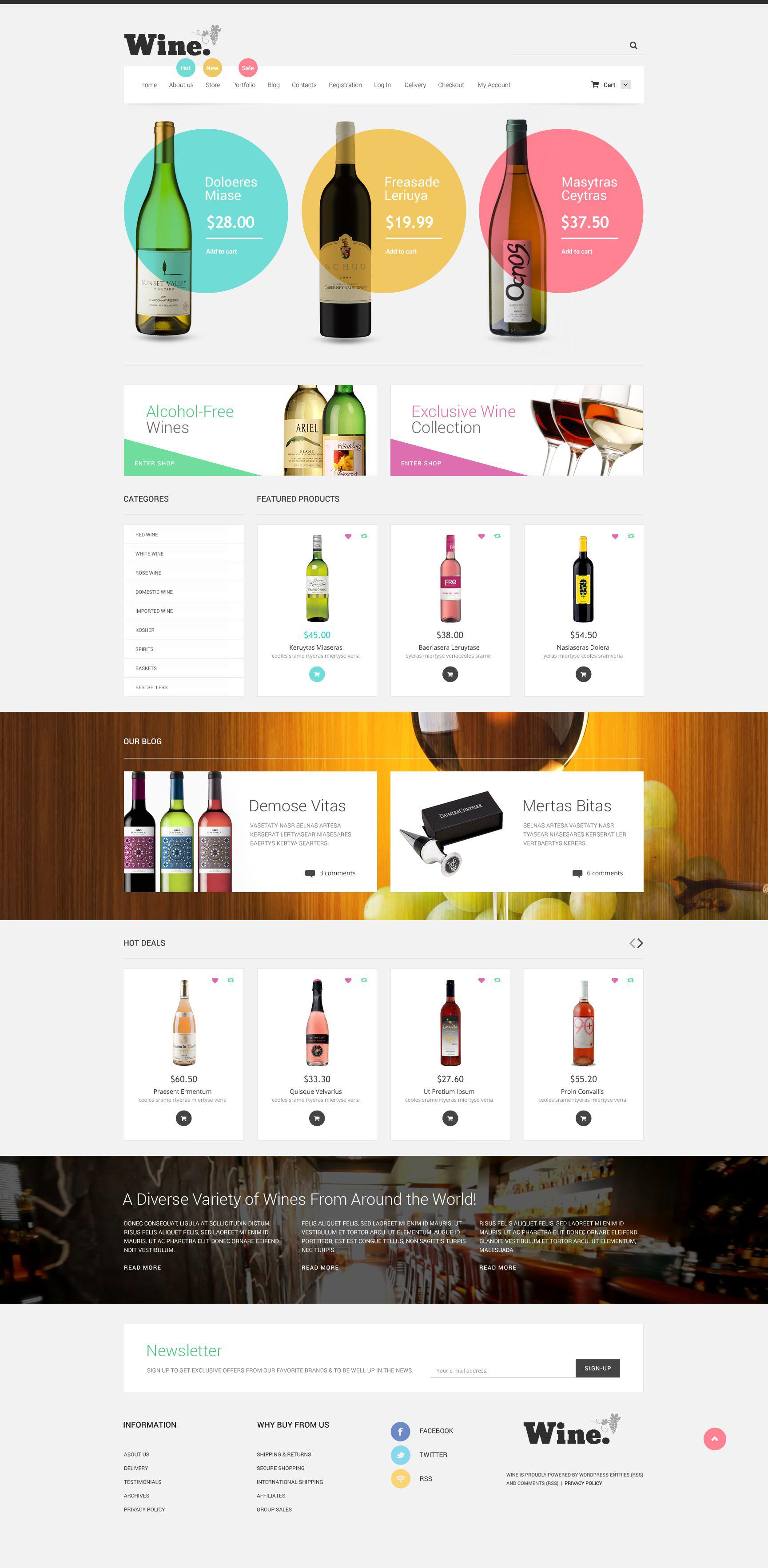 """Modello WooCommerce Responsive #53096 """"Negozio di Vino"""" - screenshot"""
