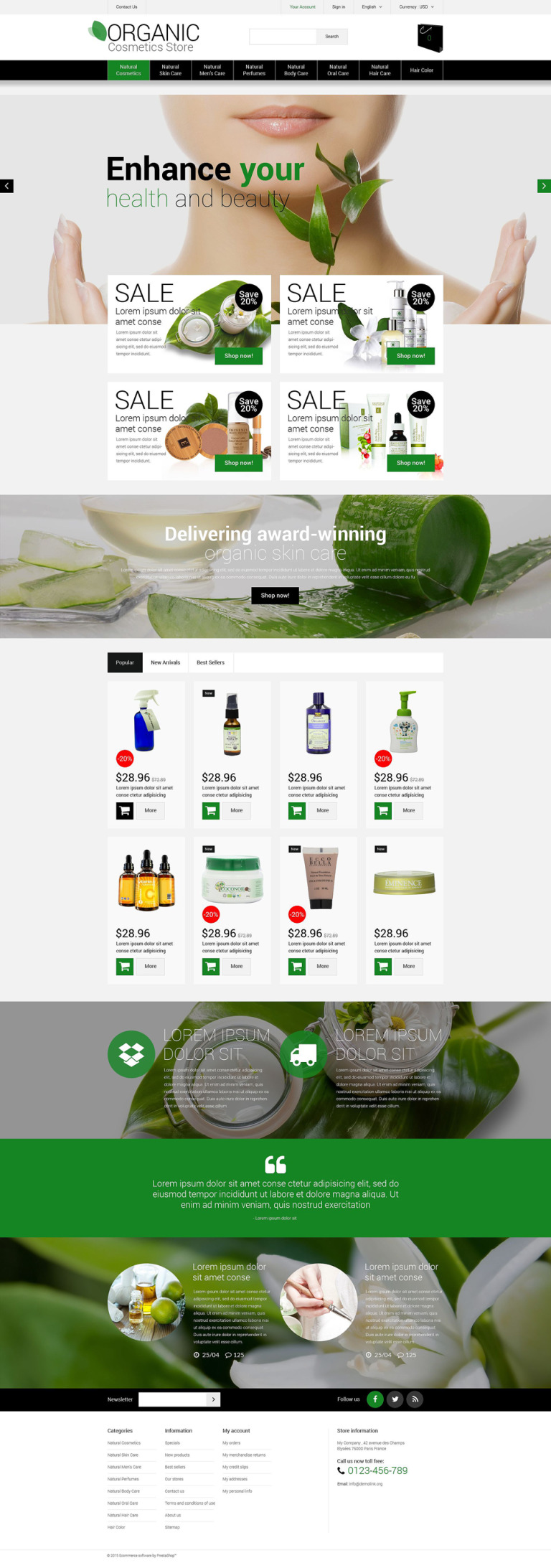 Natural Cosmetics PrestaShop Theme New Screenshots BIG