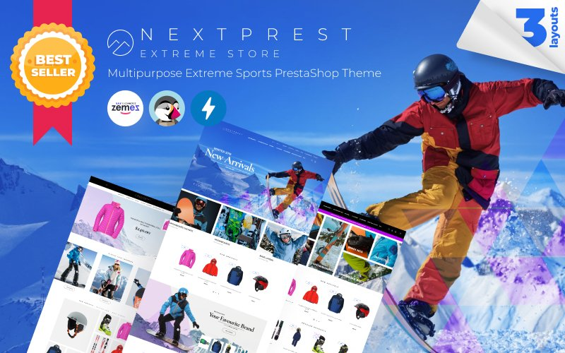 """Nextprest - Multipurpose Extreme Sports"" - адаптивний PrestaShop шаблон №53088"