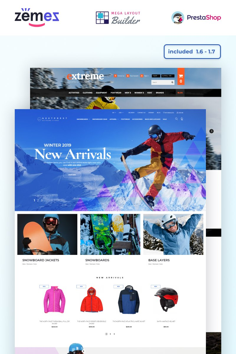 """Nextprest - Multipurpose Extreme Sports Template"" 响应式PrestaShop模板 #53088"