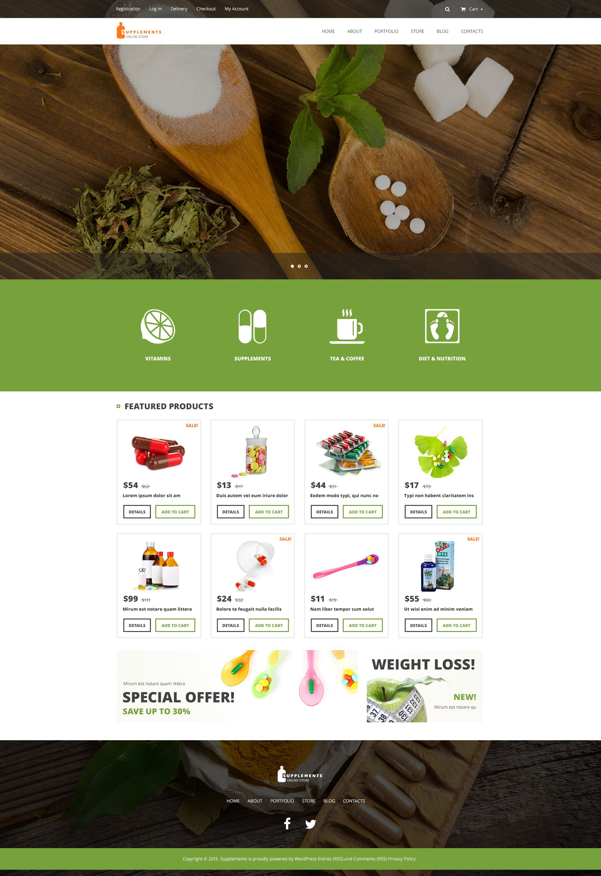 """""""Nutrition Supplements"""" Responsive WooCommerce Thema №53021"""