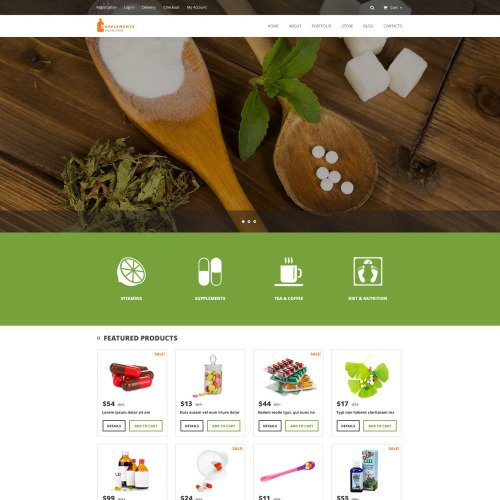 Supplements - WooCommerce Template based on Bootstrap