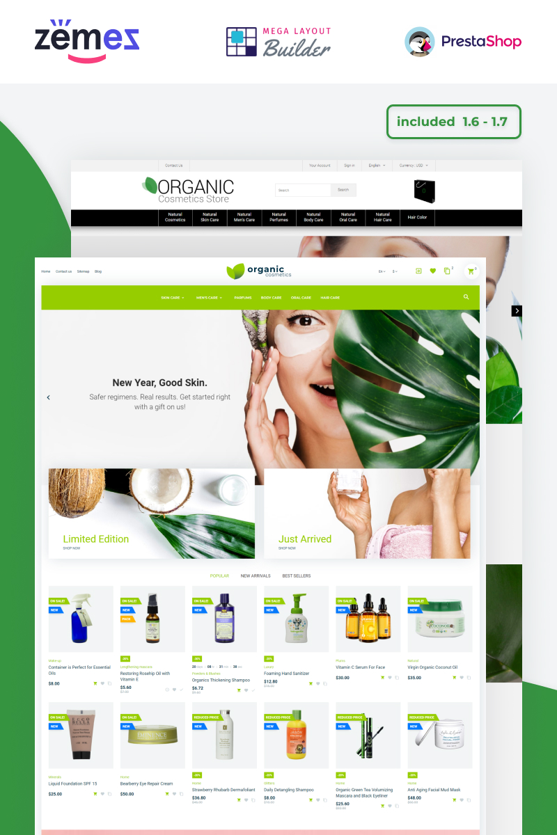 """Organic Cosmetics - Make Up Store Template"" - адаптивний PrestaShop шаблон №53007"