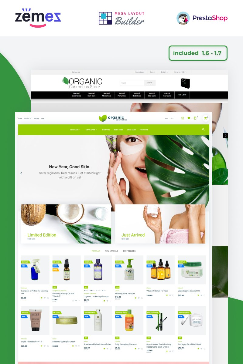 """Organic Cosmetics - Make Up Store Template"" Responsive PrestaShop Thema №53007"
