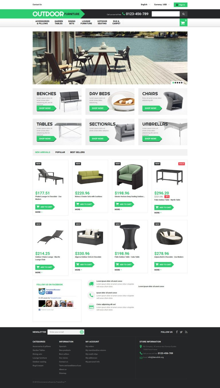 Outdoor Furniture PrestaShop Theme New Screenshots BIG