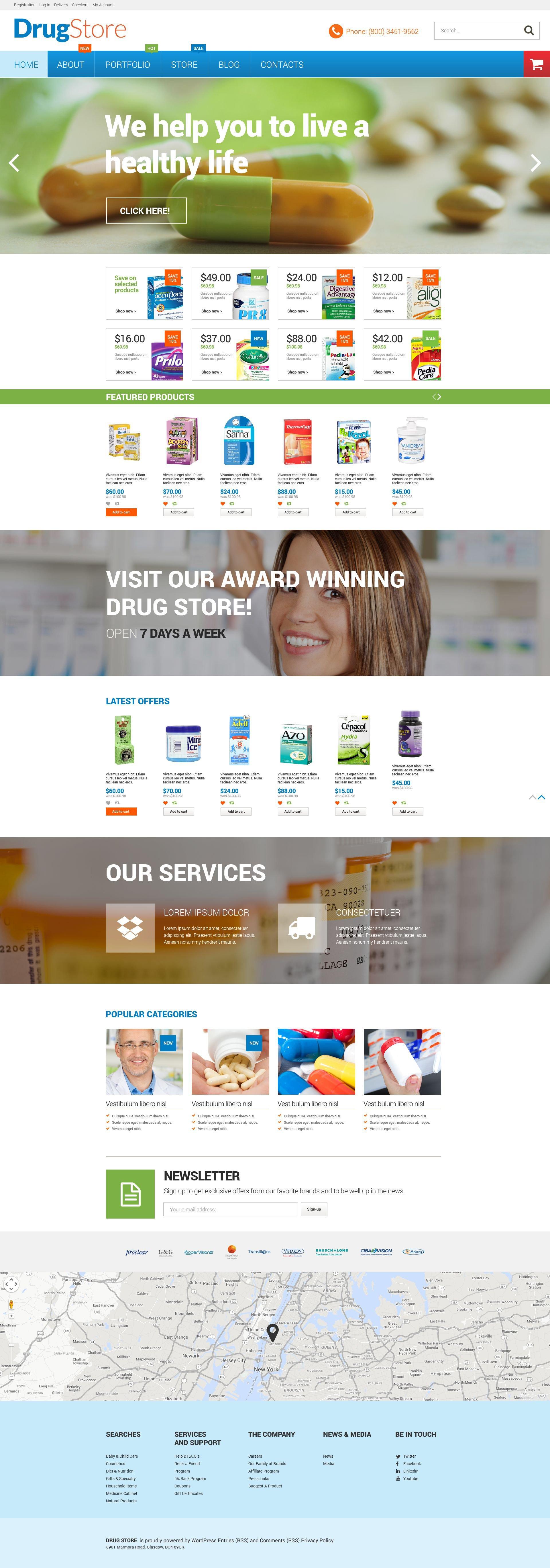 """Pharmacy"" Responsive WooCommerce Thema №53022"