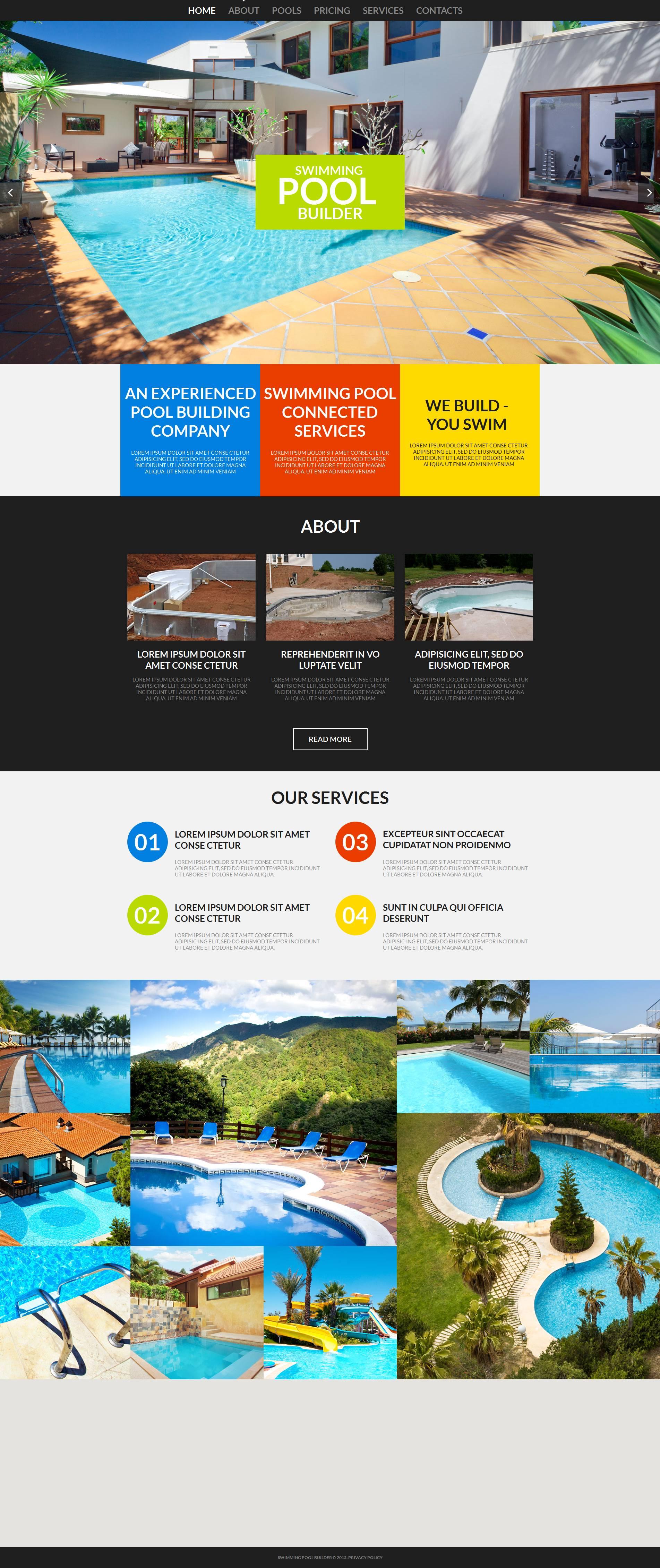 Plantilla Moto CMS HTML #53061 para Sitio de Piscinas