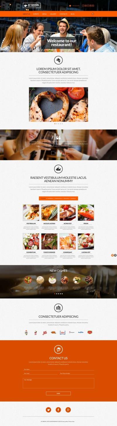 Responsive Plantilla Web #53010 para Sitio de  para Sitio de Opiniones sobre restaurantes