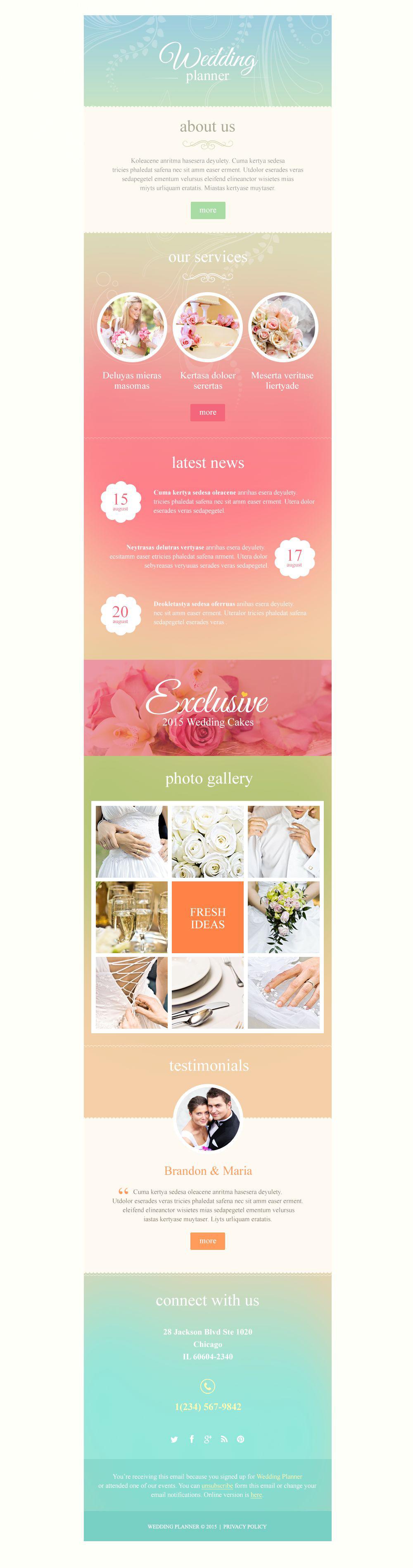 Responsive Newsletter Vorlage für Hochzeitsplaner #53089