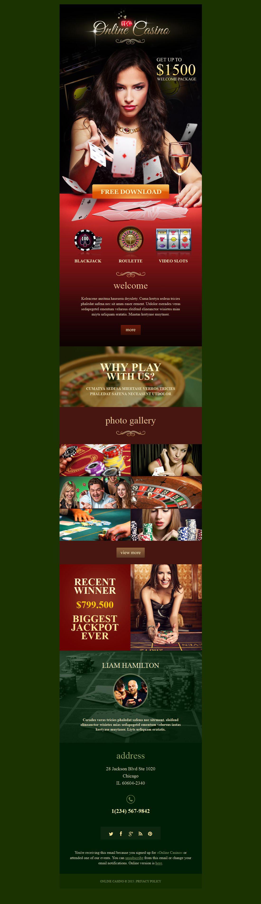 Responsive Newsletter Vorlage für Online Casino #53030