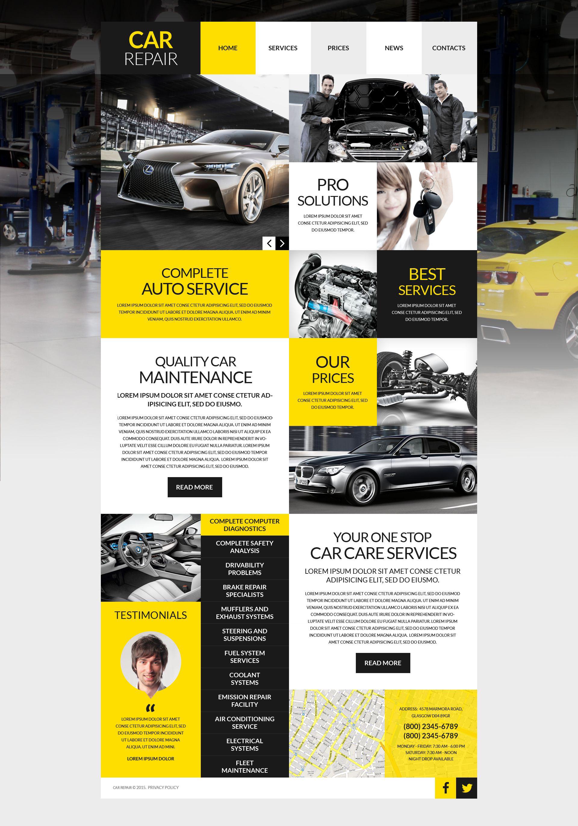 Responsivt Car Workshop WordPress-tema #53012