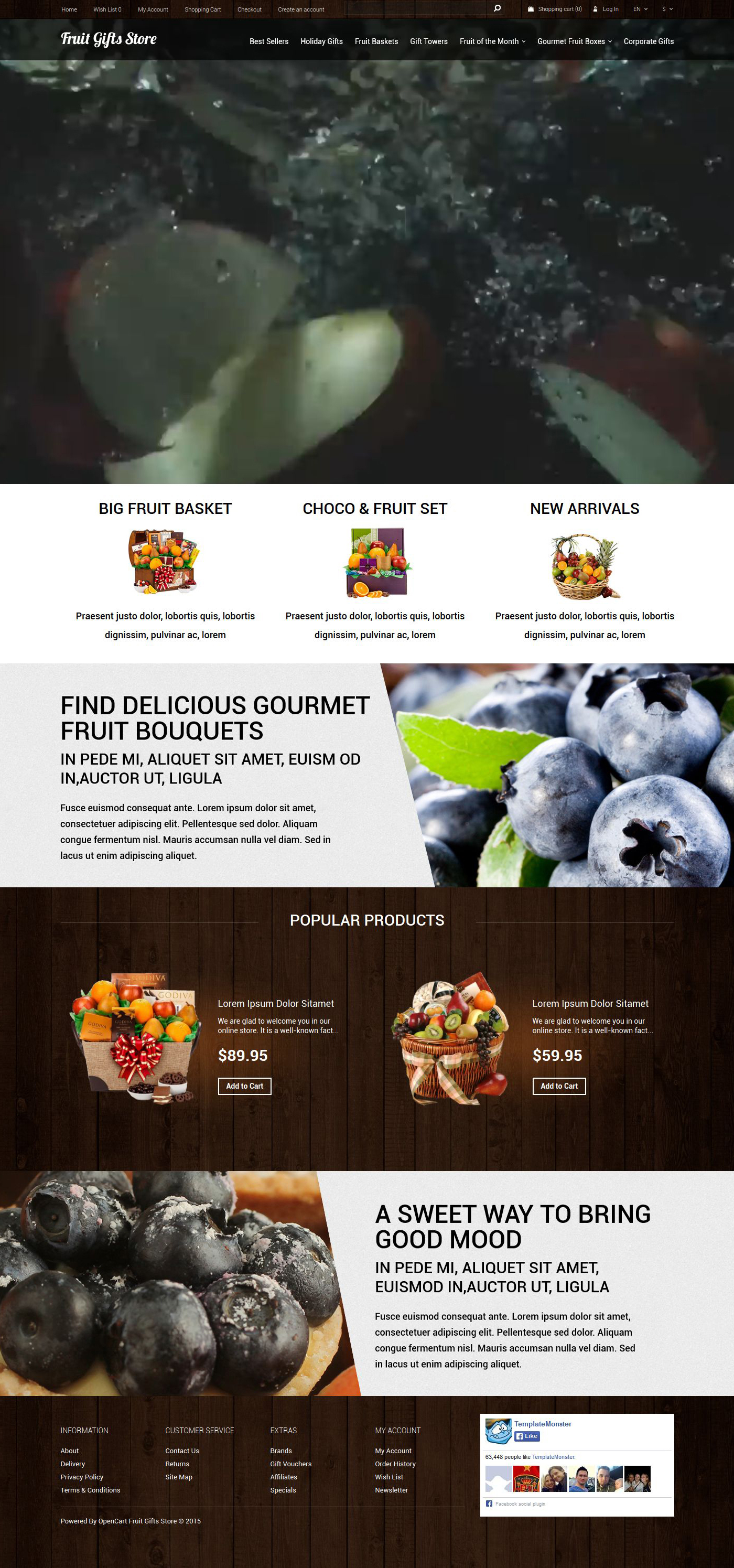 Responsivt Fruit Gifts Store OpenCart-mall #53041