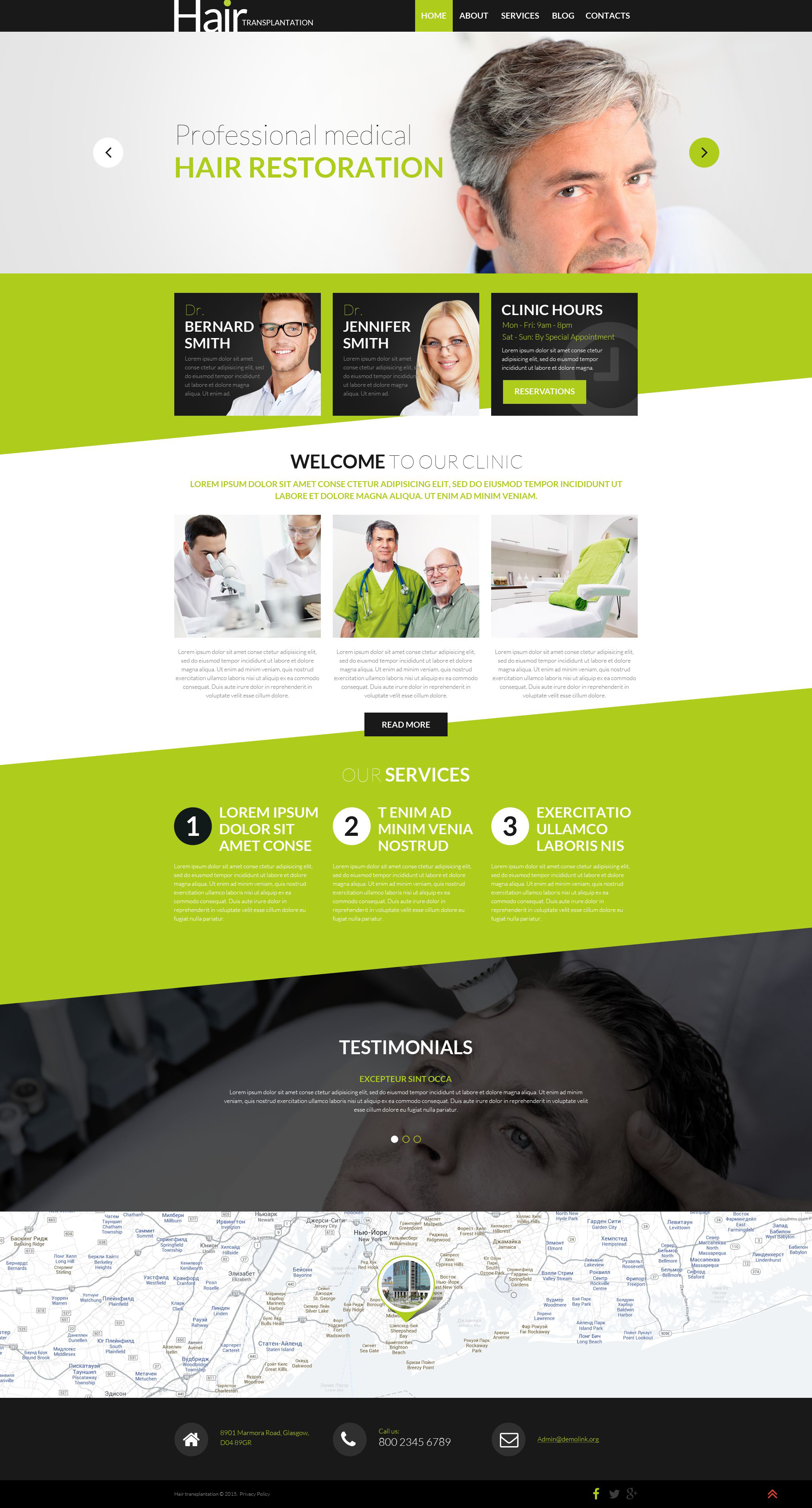 Responsywny motyw WordPress Hair Transplantation #53016