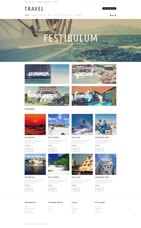 """Responzivní OpenCart šablona """"Travel Tours Store"""" #53084"""