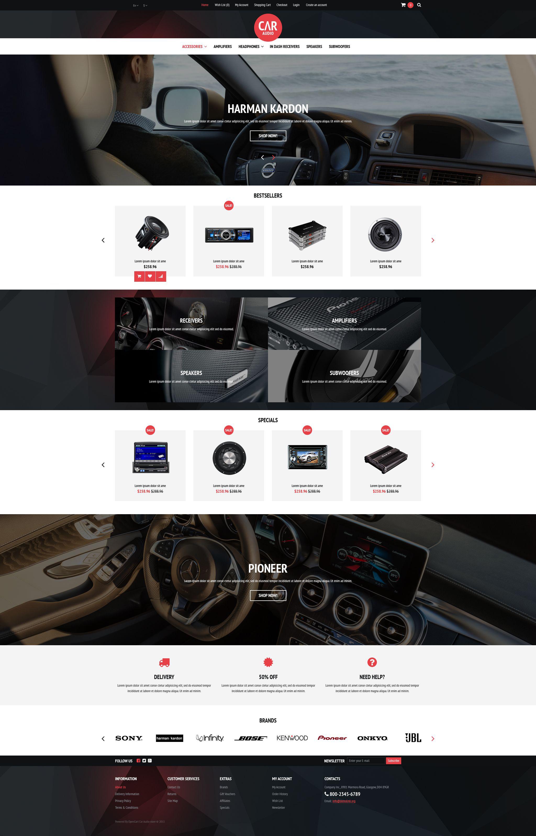 Reszponzív Car Audio  Video Equipment OpenCart sablon 53031